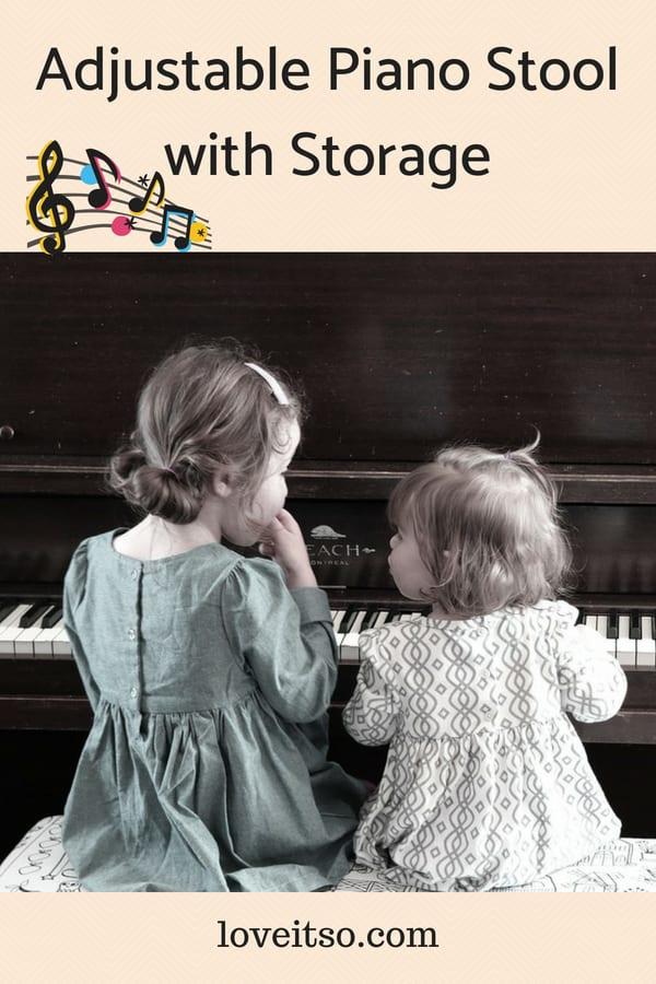 Adjustable Piano Stool with Storage